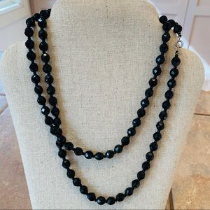 Jewelry - 💐5/25 faceted black glass beads long quality